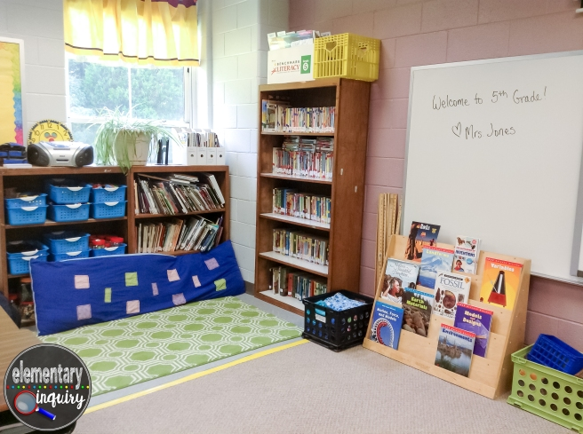 reading nook in upper elementary classroom