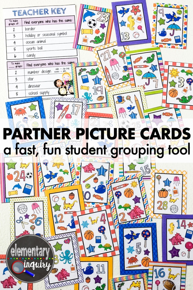 partner picture cards for flexible student grouping in upper elementary