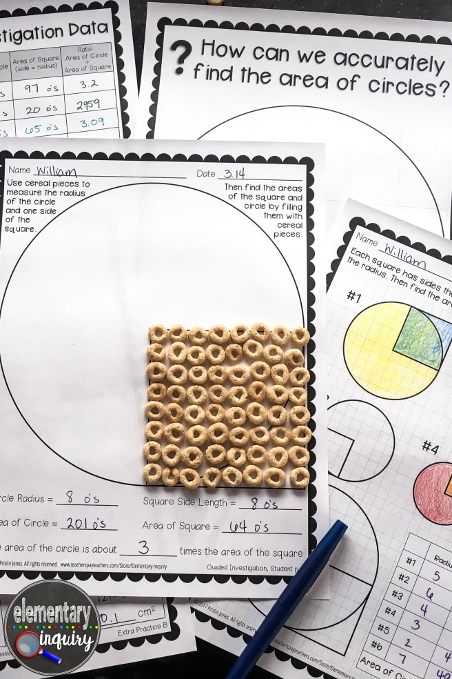 circle area formula inquiry lesson with cereal o's