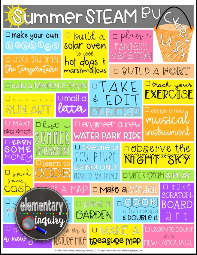 Summer STEAM Bucket List Free Printable