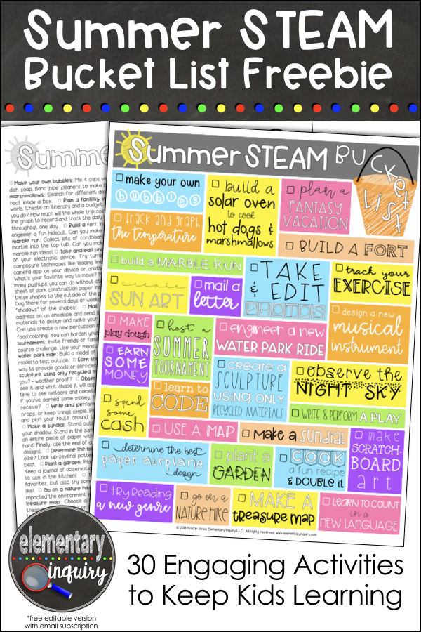 Summer STEAM Bucket List Freebie