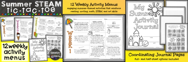 Summer STEAM Tic Tac Toe Weekly Activity Menus