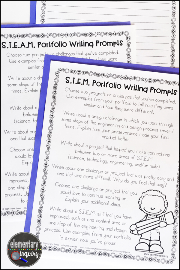 STEAM portfolio writing prompts for reflection and assessment