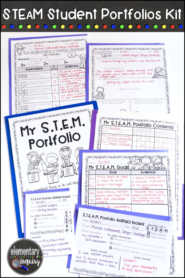 STEM and STEAM student portfolios kit printables