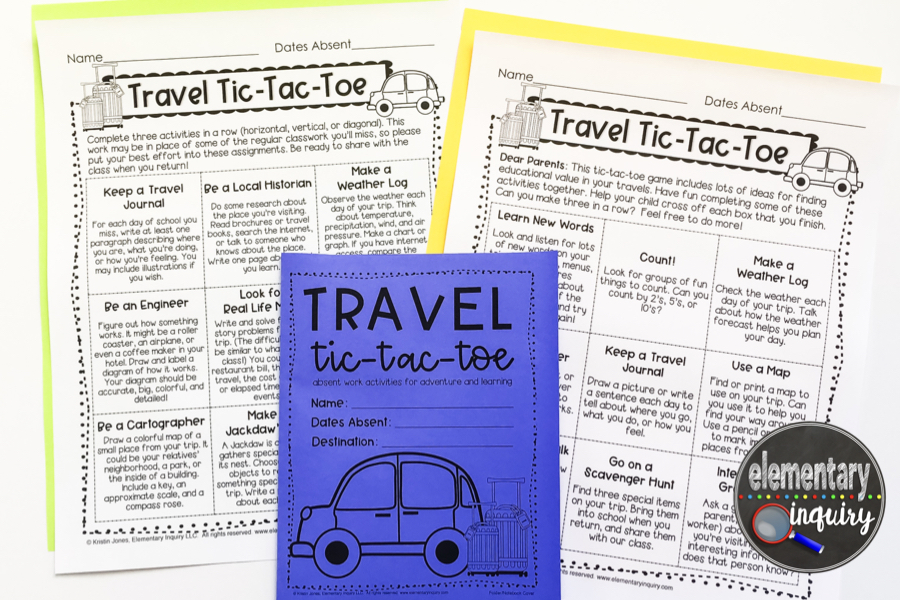 travel tic-tac-toe absent work menus for primary and intermediate grades