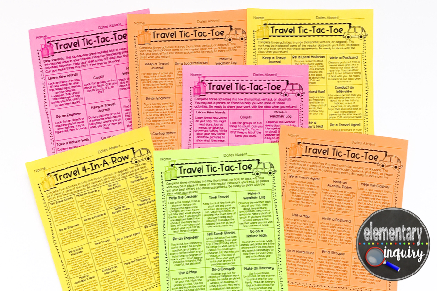 7 printable Travel Tic-Tac-Toe editable menus