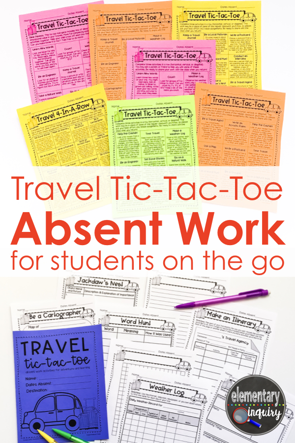 Travel Tic-Tac-Toe Absent Work for students on the go gameboards and worksheets