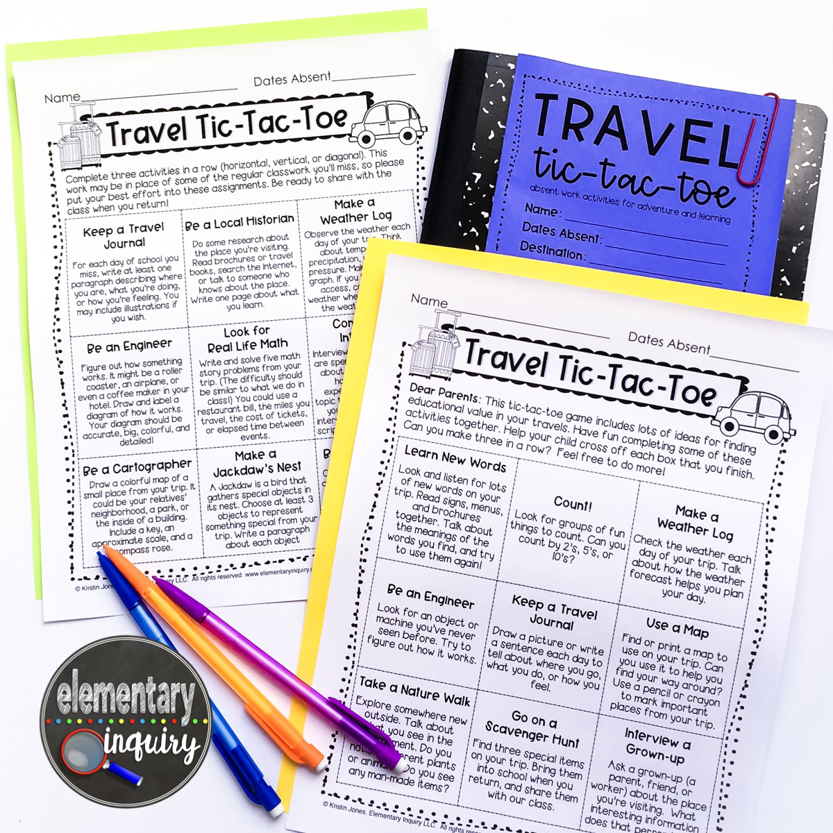Two free travel tic-tac-toe gameboards and journal cover for no prep makeup work