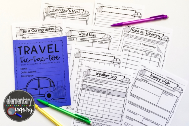 travel tic-tac-toe worksheets