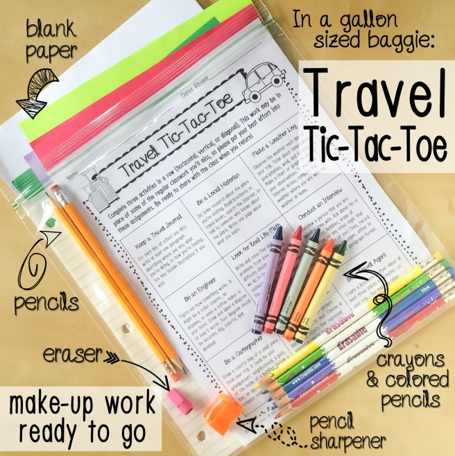 Travel tic tac toe game in a gallon size bag with paper, pencils, and crayons